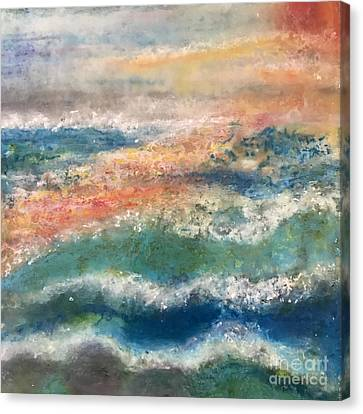 Canvas Print featuring the painting Stormy Seas by Kim Nelson