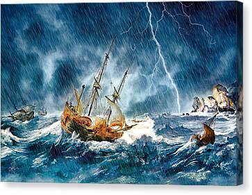 Canvas Print featuring the digital art Stormy Seas by Pennie McCracken