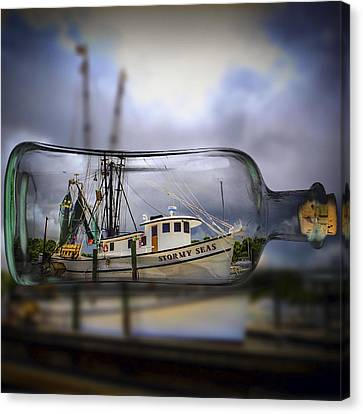 Canvas Print featuring the photograph Stormy Seas - Ship In A Bottle by Bill Barber
