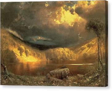 Stormy Skies Above Echo Lake White Mountains  Canvas Print by Fairman California