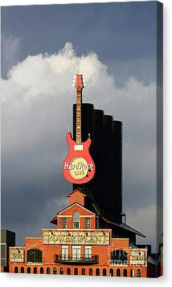 Stormy Skies And Hard Rock Cafe Baltimore Canvas Print