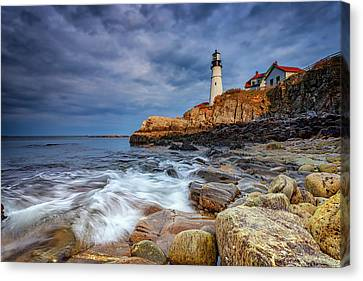 Stormy Skies At Portland Head Canvas Print by Rick Berk