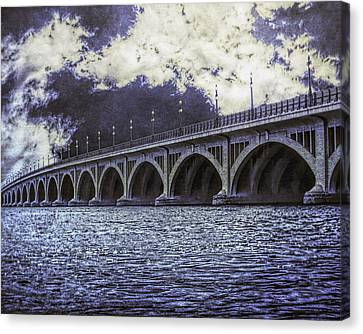 Stormy Skies On Belle Isle / Macarthur Bridge - Detroit River Canvas Print by Rebecca Snyder