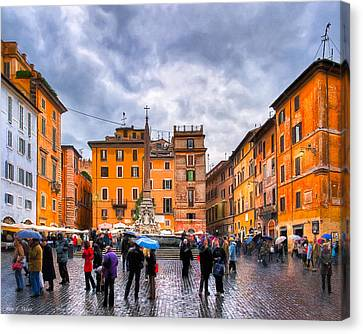 Stormy Skies Over A Roman Piazza Canvas Print by Mark E Tisdale