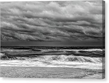 Stormy Skies Turbulent Ocean Outer Banks Bw Canvas Print by Dan Carmichael