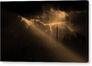Stormy Sky And Light Canvas Print by Martin Morehead