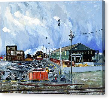 Stormy Sky Over Shipyard And Steel Mill Canvas Print by Asha Carolyn Young
