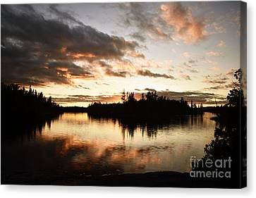 Stormy Sunset On Little Saganaga Lake Canvas Print by Larry Ricker