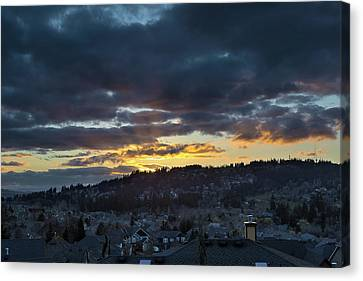 Stormy Sunset Over Happy Valley Oregon Canvas Print by David Gn