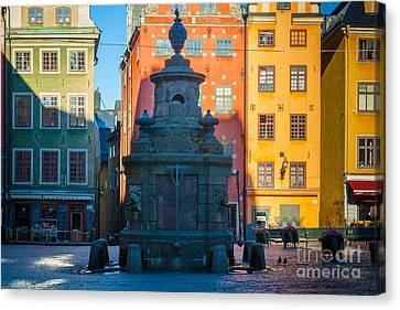 Stortorget Fountain Canvas Print by Inge Johnsson