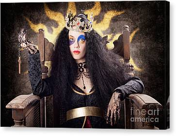 Sombre Canvas Print - Storybook Queen Jester Holding Religious Cross by Jorgo Photography - Wall Art Gallery
