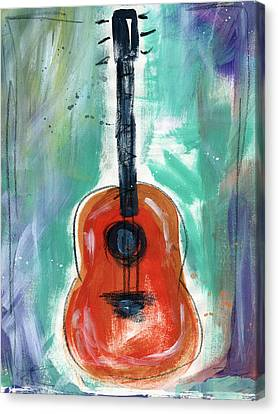 Rock Music Canvas Print - Storyteller's Guitar by Linda Woods