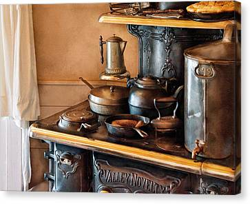 Stove - Breakfast At My Great Grandmothers Canvas Print by Mike Savad