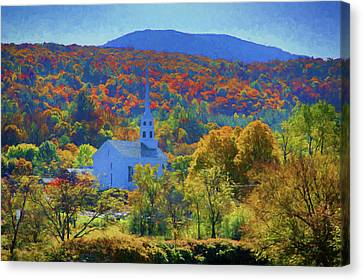 Canvas Print featuring the photograph Stowe Vermont Church In Fall by Jeff Folger