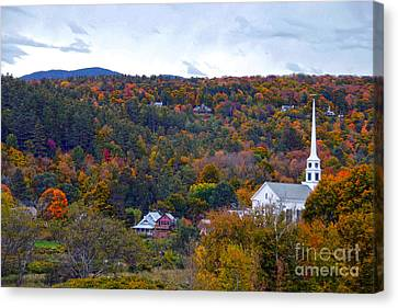 Stowe Vermont In Autumn Canvas Print by Catherine Sherman