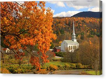 Stowe Vermont In Autumn Canvas Print by John Burk