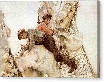 Canvas Print featuring the painting Stowing The Headsails  by Henry Scott Tuke