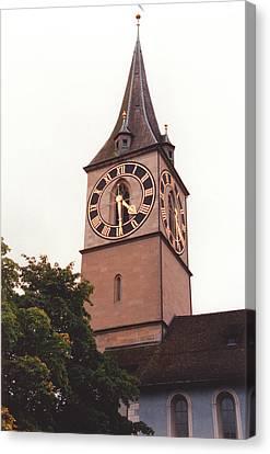 St.peter Church Clock In Zurich Switzerland Canvas Print by Susanne Van Hulst