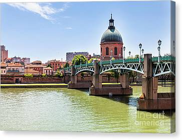 St.pierre Bridge In Toulouse Canvas Print by Elena Elisseeva