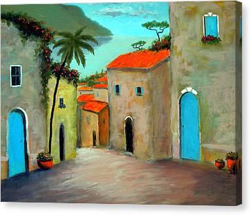 Strada A Camogli Canvas Print by Larry Cirigliano