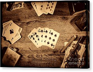 Straight Flush Canvas Print by American West Legend By Olivier Le Queinec