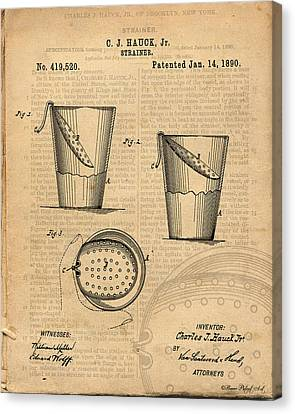 Strainer Vintage And Antique Patent Art Canvas Print by Michel Keck