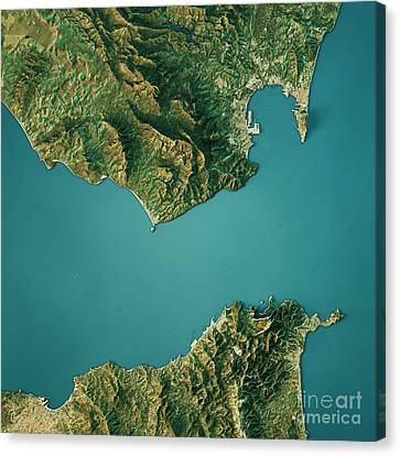 Strait Of Gibraltar Topographic Map Natural Color Top View Canvas Print