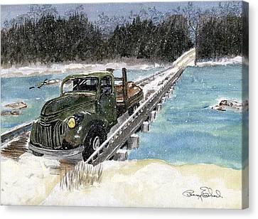 Stranded On Rockford Bridge Canvas Print by Penny Everhart