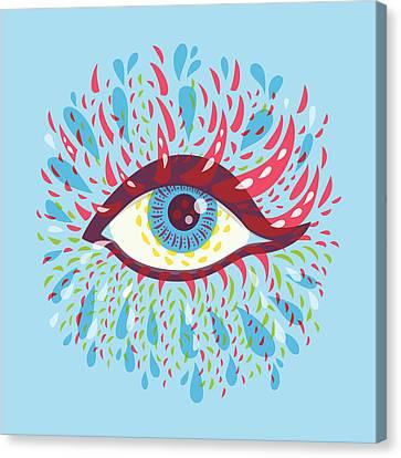 Strange Blue Psychedelic Eye Canvas Print