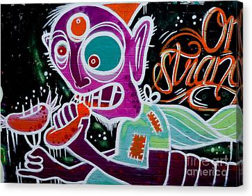 Canvas Print featuring the painting Strange Graffiti Creature Eaitng Sausagees by Yurix Sardinelly
