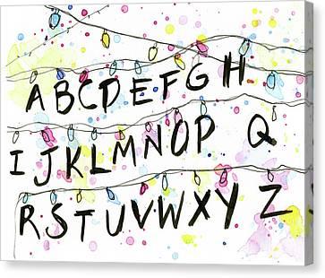 Stranger Things Alphabet Christmas Lights Canvas Print by Olga Shvartsur