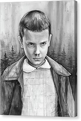 Stranger Things Fan Art Eleven Canvas Print by Olga Shvartsur