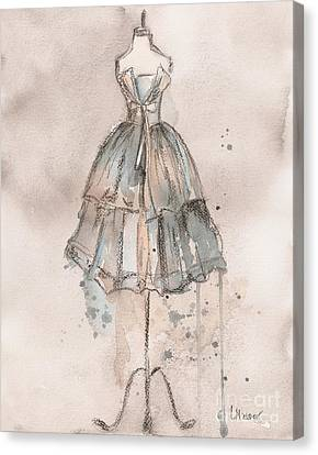 Dresses Canvas Print - Strapless Champagne Dress by Lauren Maurer