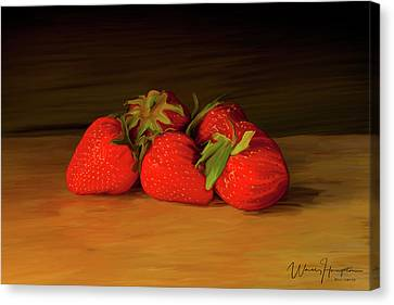 Strawberries 01 Canvas Print by Wally Hampton