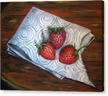 Strawberries-3 Contemporary Oil Painting Canvas Print by Natalja Picugina