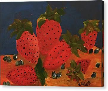 Strawberries And Blueberries Canvas Print