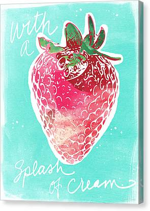 Strawberries And Cream Canvas Print by Linda Woods