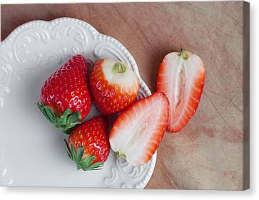 Strawberries From Above Canvas Print by Tom Mc Nemar