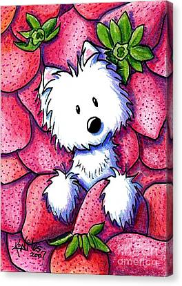 Strawberries N Cream Canvas Print by Kim Niles
