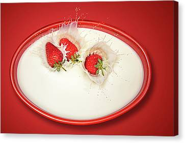 Strawberry Canvas Print - Strawberries Splashing In Milk by Johan Swanepoel