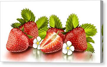 Close Up Canvas Print - Strawberries by Veronica Minozzi