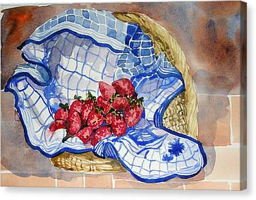 Canvas Print featuring the painting Strawberry Basket by Pat Crowther