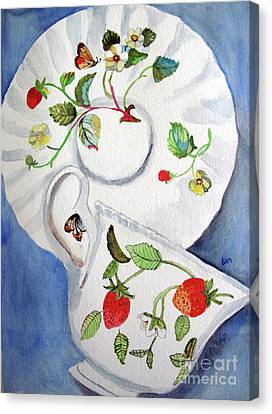 Strawberry Cup And Saucer Canvas Print by Sandy McIntire