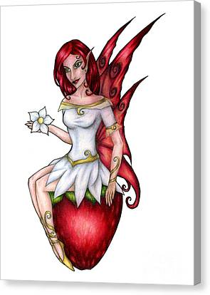 Strawberry Fairy Drawing Canvas Print