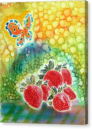 Strawberry Garden Canvas Print by Beverly Johnson