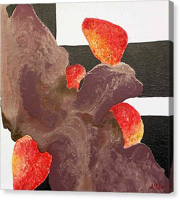Strawberry In Chocolate Canvas Print by Evguenia Men
