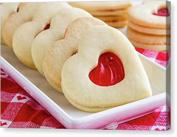 Canvas Print featuring the photograph Strawberry Jam Filled Heart Cookies by Teri Virbickis