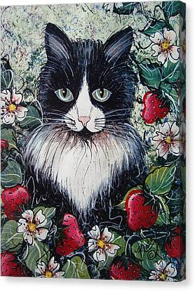 Strawberry Lover Cat Canvas Print