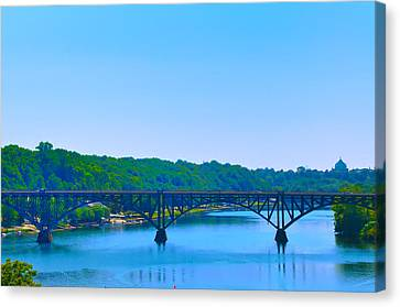 Strawberry Mansion Bridge From Laurel Hill Canvas Print by Bill Cannon