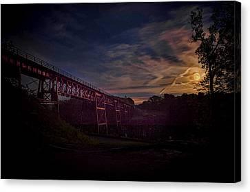 Strawberry Moon At Letchworth Park Canvas Print by Joe Granita